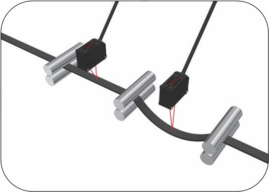 激光位移传感器检测橡胶带的拉紧及下垂程度